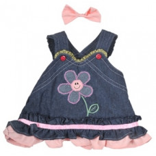 Summer Denim Dress with Bow - 2pc