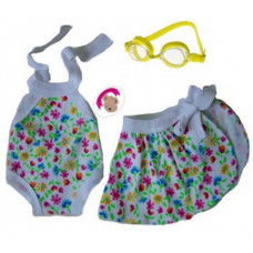 Swimsuit with Wraparound Skirt and Goggles - 3pc